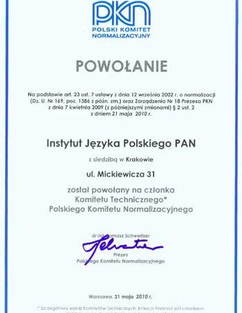 IJP PAN członkiem Komitetu Technicznego Polskiego Komitetu Normalizacyjnego