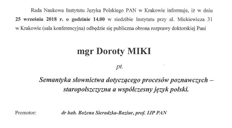 Zawiadomienie o publicznej obronie rozprawy doktorskiej mgr Doroty Miki